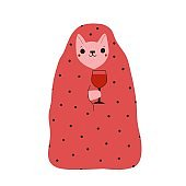 Vector illustration of cute cartoon cat with pink blanket and glass of red wine.