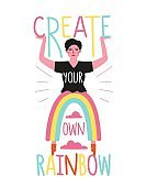 Vector illustration with woman and funny rainbow pants. Create your own rainbow lettering quote.