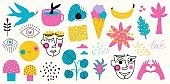 Big vector set of hand drawn style elements and doodle objects.