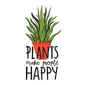 Vector illustration with red pot and floral inspirational text - plants make people happy.