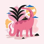 Vector illustration with pink dinosaur, black palm, small volcano with palm and smoke, abstract background elements.