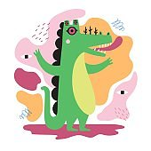 Vector illustration with abstract green crocodile monster with many eyes and pink tongue.