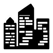 Skyscraper building icon. Business office icon. Luxury apartment, residential property sign. Hotel symbol.