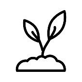 Planting icon illustration in line design style. Sprout, seedling symbol.