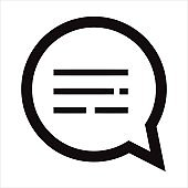 Speech bubble icon illustration. Text message, chatting, texting symbols. Online communication, conversation sign. Chat bubble icon for modern style web and mobile applications.