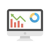 Computer display with business infographics sign. Financial analytics icon. Market stats symbol.