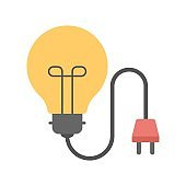 Light bulb with electric plug representing electricity. Electric energy icon.