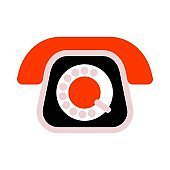 Old-fashioned rotary phone flat icon on white isolated background. Vintage telephone sign.