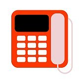 Landline phone flat icon. Office telephone with handset symbol.