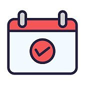 Calendar with checkmark sign icon. Appointment date checked icon in flat style. Event organizer, schedule, planner sign.