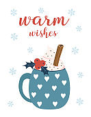 winter card with cup and marshmallows, vector illustration