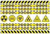 Seamless security yellow black diagonal stripes. Safety danger ribbon signs.Warn Caution symbol. Under construction, do not cross, police line, warning. Isolated on white background. Toxic, biohazard