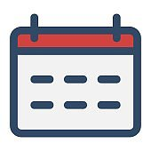 Calendar icon illustration. Monthly, weekly business calendar symbol. Event organizer, planner, meeting, appointment schedule signs. Date reminder icon.