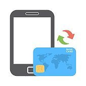 Mobile payment icon in flat style. Internet shopping with smart phone and credit card. Mobile banking symbol for perfect web and mobile applications.