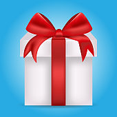 Gift box with a bright red bow. Holiday gift. Element for your design. Vector illustration