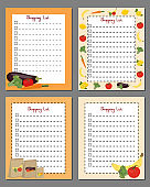 Set of shopping list templates. Design pages with lines for writing a shopping list. Vector illustration