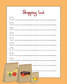 Shopping list. Page template with lines for writing a shopping list. Vector illustration with paper bags for products
