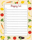Shopping list. Page template with lines for writing a shopping list. Vector illustration with vegetables and fruits