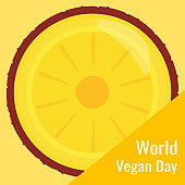 Poster or a banner with pineapple. World Vegan Day. Healthy food and healthy lifestyle