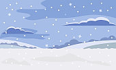 Winter landscape. Vector illustration of winter nature. Sky, clouds and snow. Winter background