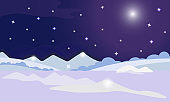 Winter night landscape. Vector illustration of winter nature. Sky, stars, moon and snow. Winter background