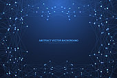 Polygonal science background with connecting dots and lines. Abstract plexus geometric effect. Digital data visualization background. Vector illustration