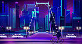 Modern city nigh embankment vector background