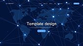 Modern vector template for website design. Global network connection concept. Big data visualization. Social network communication in the global computer networks. Internet technology, vector