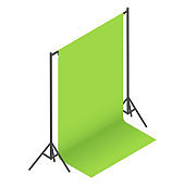 Green screen backdrop, background on racks in photo studio. Chroma key compositing.