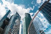 Skyscraper in a finance district, urban city architecture