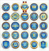 Collection of Gold and blue badges labels laurels shield and metal plates