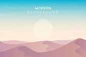 Sunset, sunrise, morning in desert, mountains, Abstract landscape, Vector banner with polygonal landscape illustration, Minimalist style