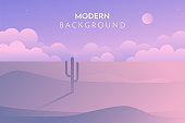 A high quality horizontal seamless background of landscape with desert and cactus. Sunset on a background of a mountain landscape. Vector game graphic. Silhouettes of stones, cacti and plants.