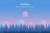 Abstract landscape. Minimalist style. Mountain and forest. Vector illustration.