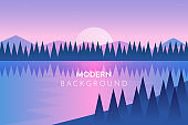 Abstract image of a sunset or dawn sun over the mountains at the background and river or lake at the foreground. Mountain landscape. vector illustration