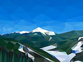 Vector image sky and partly snow-covered mountains. Technique of performing the image - triangular elements with gradient fill. Glacier between the mountains. Glacier melting. Environmental protection