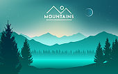 Mountains and lake at night landscape flat vector illustration. Nature scenery with fir trees and hill peaks silhouettes on horizon. Valley, river and starry sky scene background.