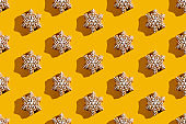 snowflake pattern yellow seamless background beige