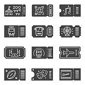 Ticket icon set, black coupons for event entry