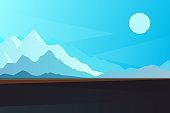 Abstract landscape, Vector banner with polygonal landscape illustration, Minimalist style, Flat design. Winter mountain landscape.