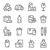 Big set of waste sorting, recycling thin line icons isolated on white. Garbage collection outline pictograms.