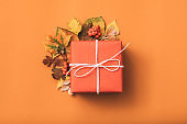 holiday present greeting gift box fall leaves