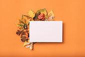greeting card mockup congratulation autumn leaves
