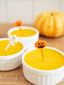 Baked pumpkin pudding on table