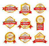 Money back badge vector realistic illustrations set