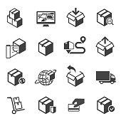 Parcel delivery vector icon or symbol set