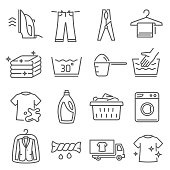 Laundry, dry cleaning thin line icons set isolated on white. Iron, bleach, washing machine pictograms.