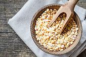 Bowl of yellow dry split peas