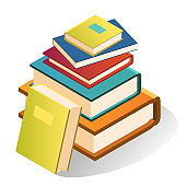 Book stack, large bright collection for school or library