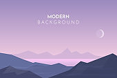 Mountain lake, Sunset, night, morning in desert, mountains, Abstract landscape, Vector banner with polygonal landscape illustration, Minimalist style